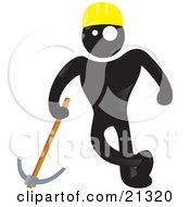 Clipart Illustration Of A Blackman Character In A Yellow Hardhat Leading On A Pickaxe At A Construction Site