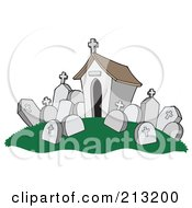 Royalty Free RF Clipart Illustration Of A Tomb And Headstones In A Cemetery