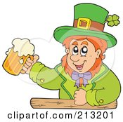 Royalty Free RF Clipart Illustration Of A Happy Leprechaun At A Bar Holding Up A Beer by visekart