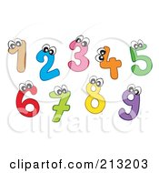 Royalty Free RF Clipart Illustration Of A Digital Collage Of Colorful Number Characters by visekart