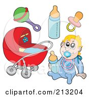 Royalty Free RF Clipart Illustration Of A Digital Collage Of A Baby And Items