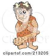 Royalty Free RF Clipart Illustration Of A Caveman Wearing A Bone In His Hair And Carrying A Weapon by visekart