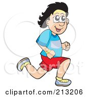 Royalty Free RF Clipart Illustration Of A Man Smiling And Jogging by visekart