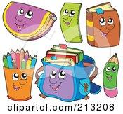 Digital Collage Of School Item Characters