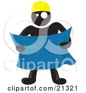 Blackman Character Wearing A Hardhat And Reviewing Blueprints At A Construction Site