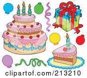 Royalty Free RF Clipart Illustration Of A Digital Collage Of Birthday Items 1