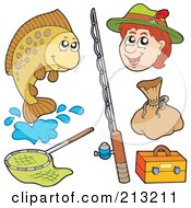 Royalty Free RF Clipart Illustration Of A Digital Collage Of Fishing Items