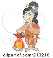Cavewoman Cooking A Bird Over A Fire