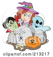 Royalty Free RF Clipart Illustration Of A Halloween Vampire Witch And Ghost With A Pumpkin By Tombstones
