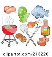 Royalty Free RF Clipart Illustration Of A Digital Collage Of Bbq Items by visekart