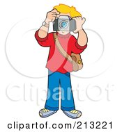 Royalty Free RF Clipart Illustration Of A Blond Boy Holding A Camera To His Face