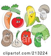 Royalty Free RF Clipart Illustration Of A Digital Collage Of Vegetable Characters by visekart