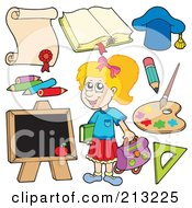 Digital Collage Of A School Girl And Items