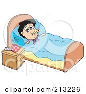 Royalty Free RF Clipart Illustration Of A Sick Man At Rest In His Bed