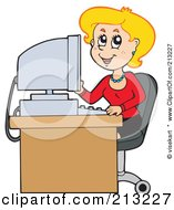Royalty Free RF Clipart Illustration Of A Blond Secretary Working At An Office Desk