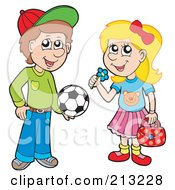 Royalty Free RF Clipart Illustration Of A Digital Collage Of A Soccer Boy And Little Girl With A Flower