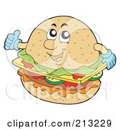 Royalty Free RF Clipart Illustration Of A Happy Cheeseburger Holding A Thumb Up by visekart