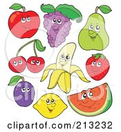 Royalty Free RF Clipart Illustration Of A Digital Collage Of Fruit Characters 1