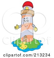 Royalty Free RF Clipart Illustration Of A Happy Lighthouse On An Island