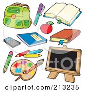 Royalty Free RF Clipart Illustration Of A Digital Collage Of School Items by visekart
