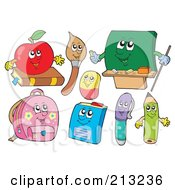 Royalty Free RF Clipart Illustration Of A Digital Collage Of School Characters by visekart