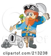 Royalty Free RF Clipart Illustration Of A Male Pirate Lighting A Canon