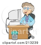 Royalty Free RF Clipart Illustration Of A Happy Businessman Seated At His Computer Desk