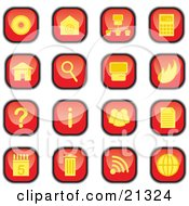 Clipart Illustration Of A Collection Of Red And Yellow Square Computer Icon Buttons Of Discs Email Information Trash And Garbage