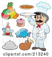 Royalty Free RF Clipart Illustration Of A Digital Collage Of A Chef And Food Items by visekart