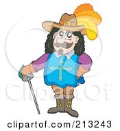 Royalty Free RF Clipart Illustration Of A Pleased Musketeer Leaning On His Sword by visekart
