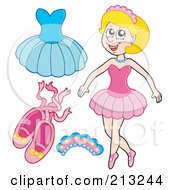 Royalty Free RF Clipart Illustration Of A Digital Collage Of A Ballerina And Items by visekart