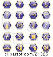 Collection Of Blue Hiking Hunting Climbing Rowing And Computer Web Design Icons On A White Background
