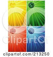 Digital Collage Of Sparkly And Shining Yellow Green Red And Blue Ray Backgrounds