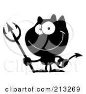 Royalty Free RF Clipart Illustration Of A Black And White Grinning Devil