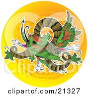 Green And Red Chinese Dragon Twisting Over An Orange Circle Background