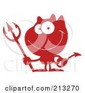 Royalty Free RF Clipart Illustration Of A Red And White Grinning Devil