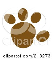 Royalty Free RF Clipart Illustration Of A Brown Rounded Paw Print