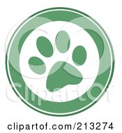 Royalty Free RF Clipart Illustration Of A Green Dog Paw Print