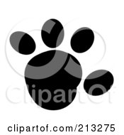 Royalty Free RF Clipart Illustration Of A Black Rounded Paw Print