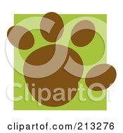 Royalty Free RF Clipart Illustration Of A Brown Rounded Paw Print On A Green Box