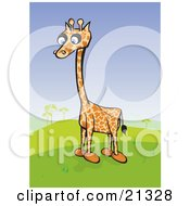 Clipart Illustration Of A Lonely Little Giraffe With Short Legs Standing In A Hilly Green Landscape