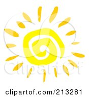 Royalty Free RF Clipart Illustration Of A Yellow Painted Style Spiral Sun
