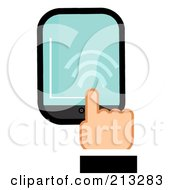 Royalty Free RF Clipart Illustration Of A Business Mans Hand Touching A Smart Phone