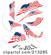 Royalty Free RF Clipart Illustration Of A Digital Collage Of American Flags And A Fourth Of July Greeting by MacX