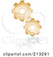 Royalty Free RF Clipart Illustration Of A Golden Gear Icon by Alexia Lougiaki