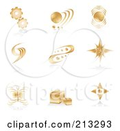 Royalty-Free (RF) Clipart Illustration of a Digital Collage Of Golden Icons Or Logos by Alexia Lougiaki #COLLC213293-0043