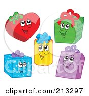 Royalty Free RF Clipart Illustration Of A Digital Collage Of Happy Gift Characters