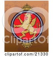 Clipart Illustration Of A Golden Majestic Griffon On A Crest Over A Brown Background