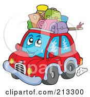 Royalty Free RF Clipart Illustration Of A Happy Red Car With Luggage On Top