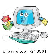 Royalty Free RF Clipart Illustration Of A PC Character Holding A Flower